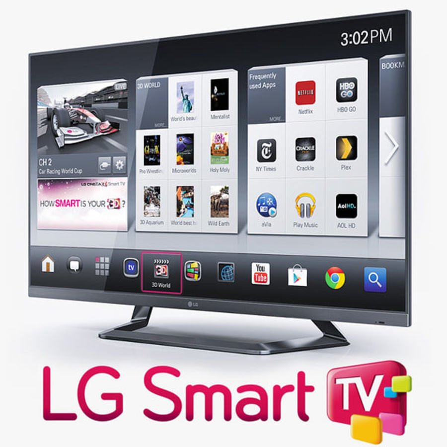 LG 55LM7600 led tv royalty-free 3d model - Preview no. 1