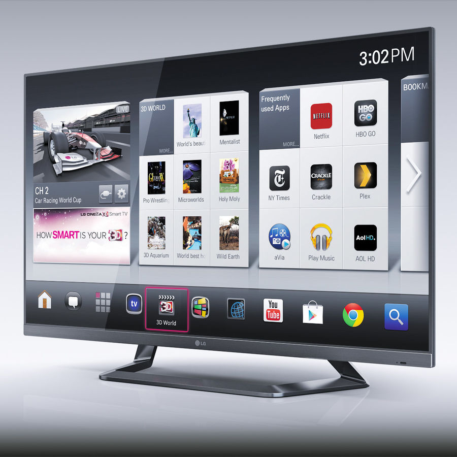 LG 55LM7600 led tv royalty-free 3d model - Preview no. 2