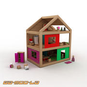 Toy Wooden Dolls House 3d model