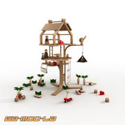 Toy Wooden Treehouse 3d model