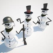 3 muñecos de nieve modelo 3d