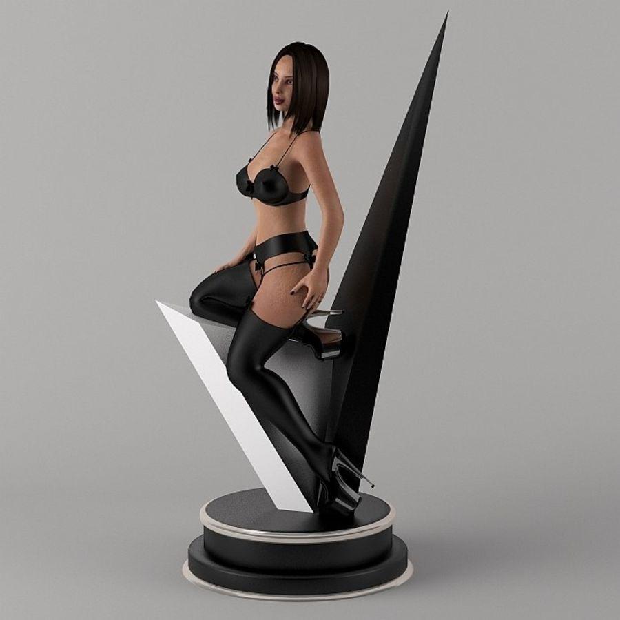 Fille en noir royalty-free 3d model - Preview no. 7