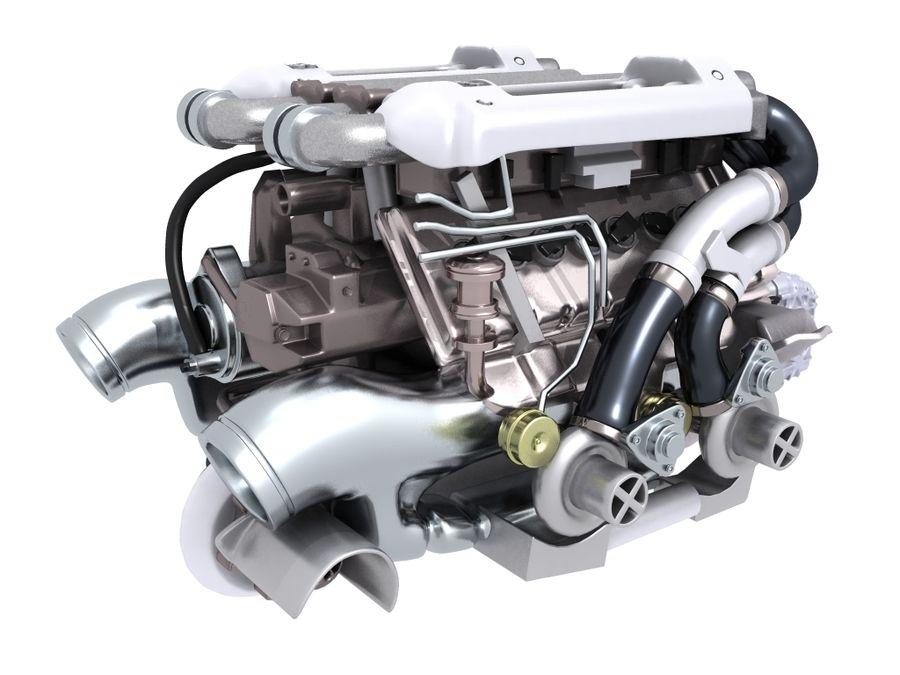Bugatti Veyron engine royalty-free 3d model - Preview no. 5