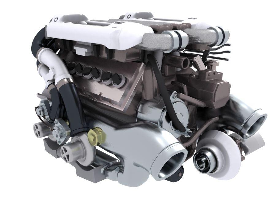 Bugatti Veyron engine royalty-free 3d model - Preview no. 3