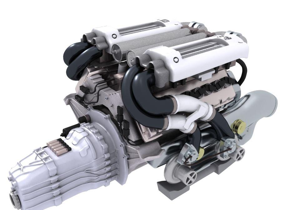 Bugatti Veyron engine royalty-free 3d model - Preview no. 2
