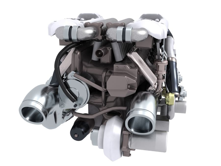Bugatti Veyron engine royalty-free 3d model - Preview no. 4