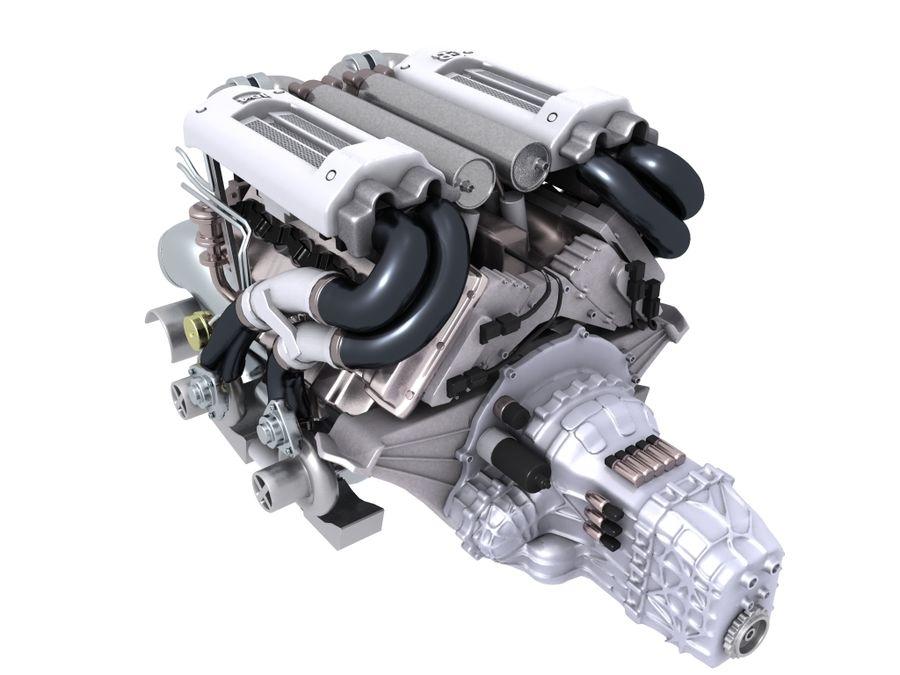 Bugatti Veyron engine royalty-free 3d model - Preview no. 1
