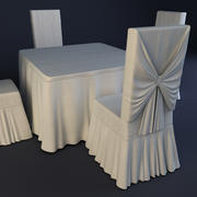 Ballroom Chair and Table 3d model