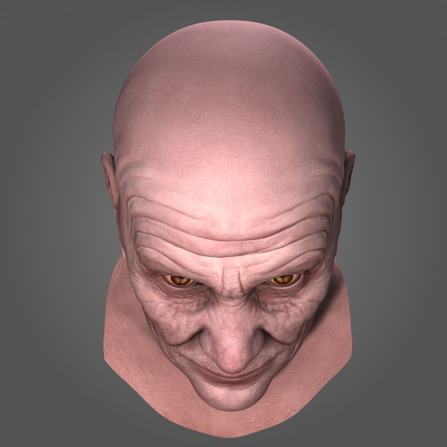 Old Man Head royalty-free 3d model - Preview no. 9