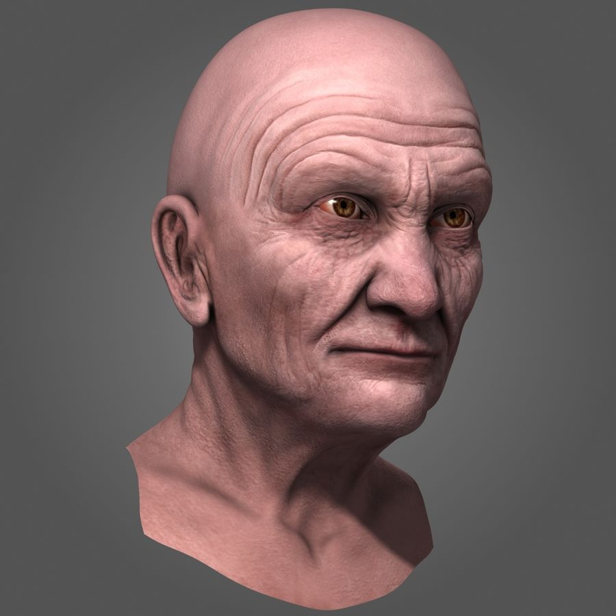 Old Man Head royalty-free 3d model - Preview no. 3