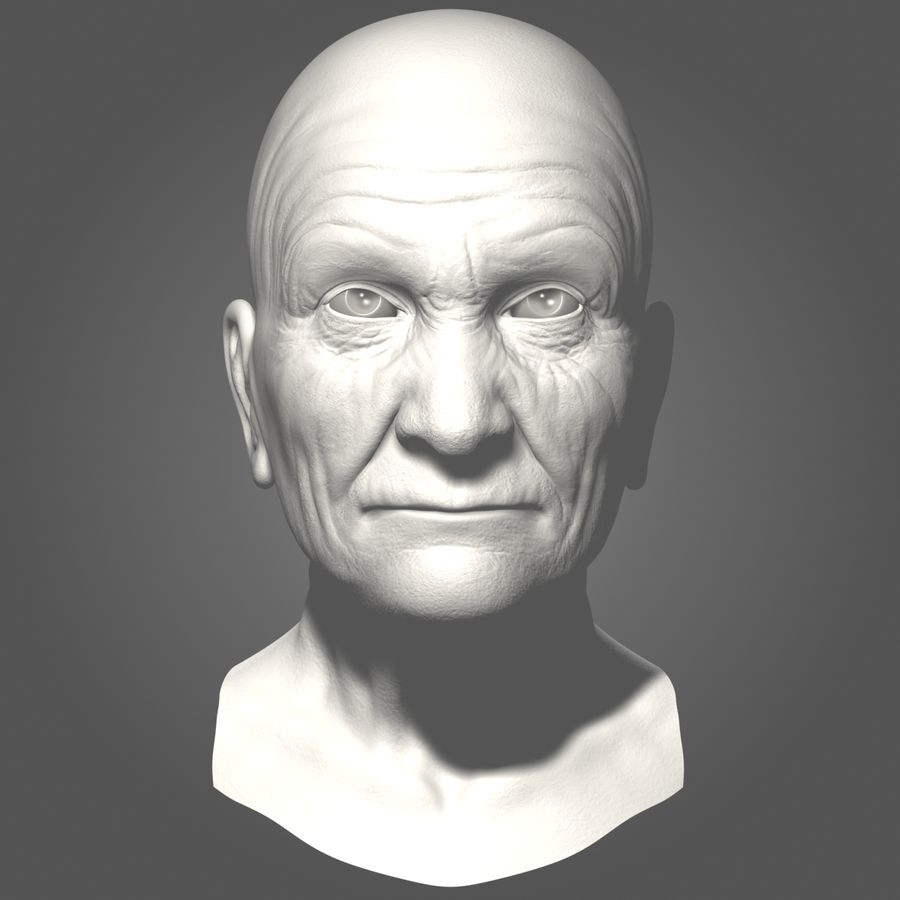 Old Man Head royalty-free 3d model - Preview no. 10