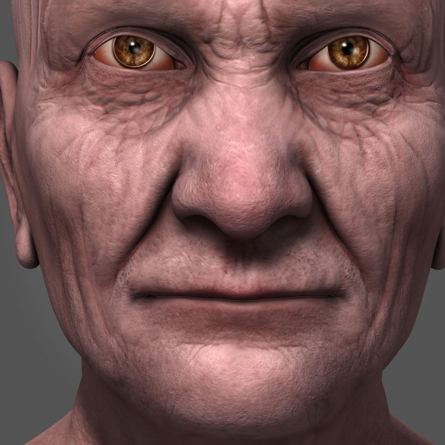 Old Man Head royalty-free 3d model - Preview no. 8