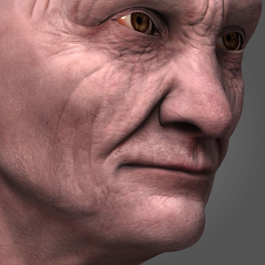 Old Man Head royalty-free 3d model - Preview no. 7