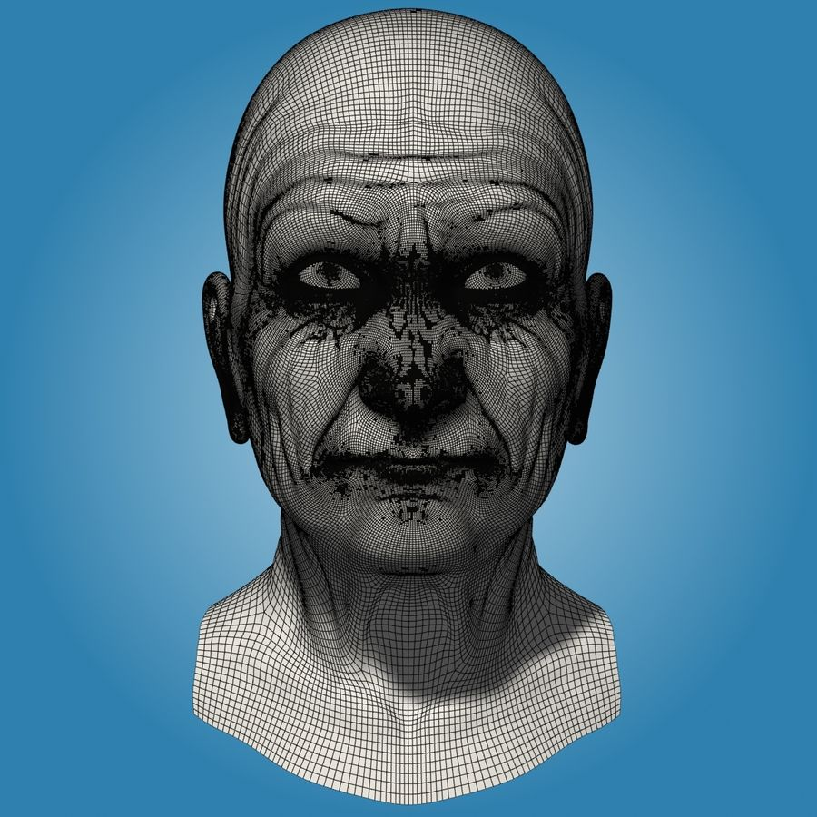 Old Man Head royalty-free 3d model - Preview no. 12