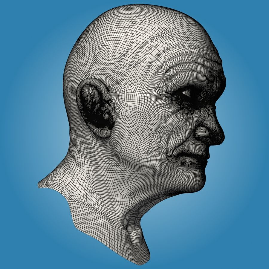 Old Man Head royalty-free 3d model - Preview no. 13