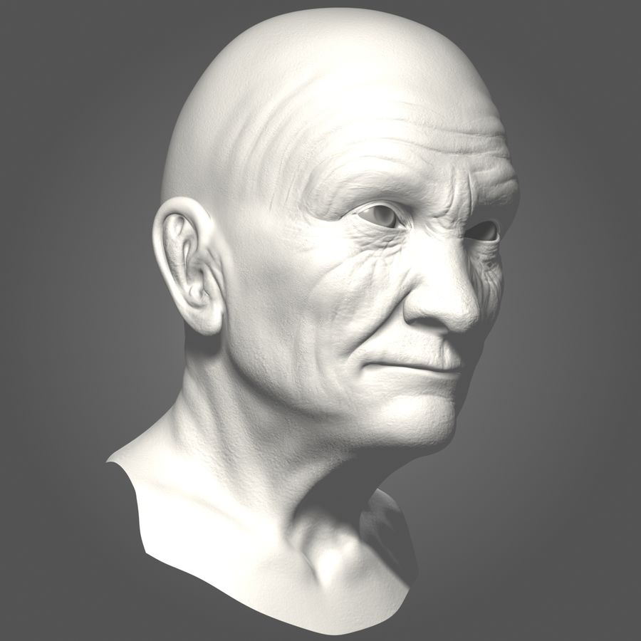 Old Man Head royalty-free 3d model - Preview no. 11