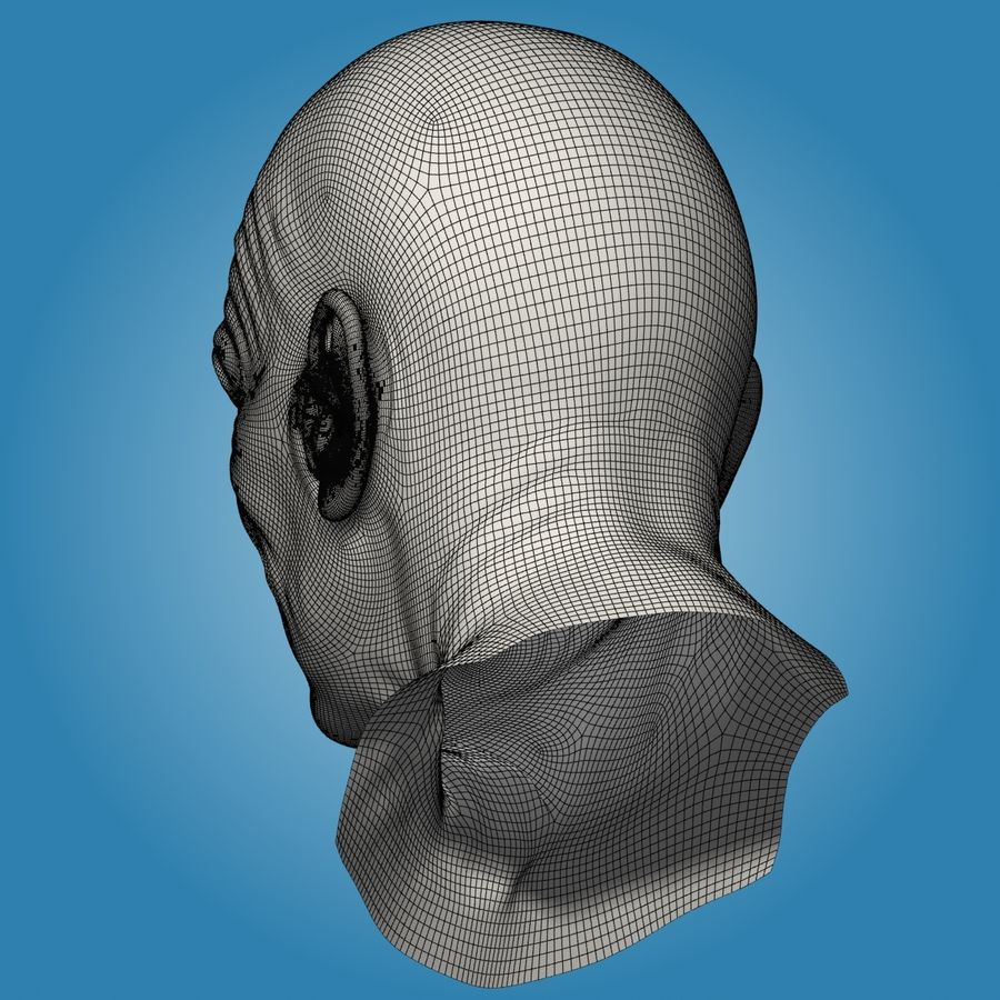 Old Man Head royalty-free 3d model - Preview no. 14