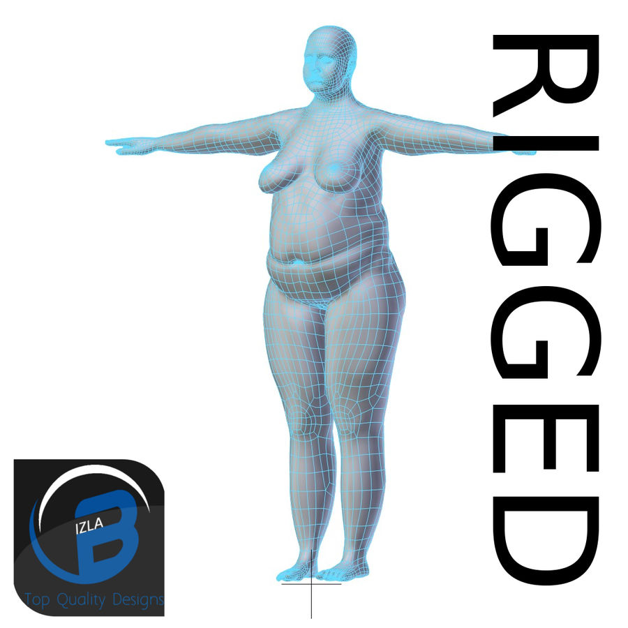RIGGED肥胖女性基础网HIGH POLY royalty-free 3d model - Preview no. 1