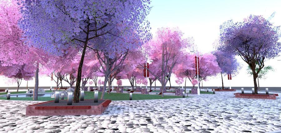 Cherry blossom park royalty-free 3d model - Preview no. 9