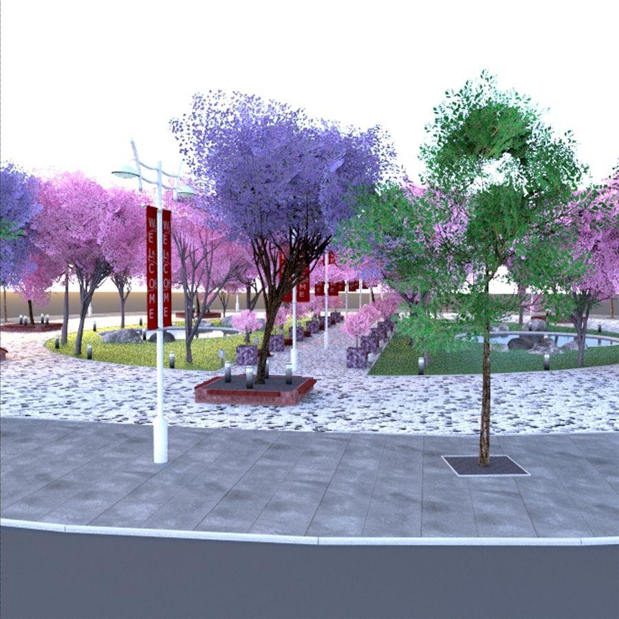 Cherry blossom park royalty-free 3d model - Preview no. 7