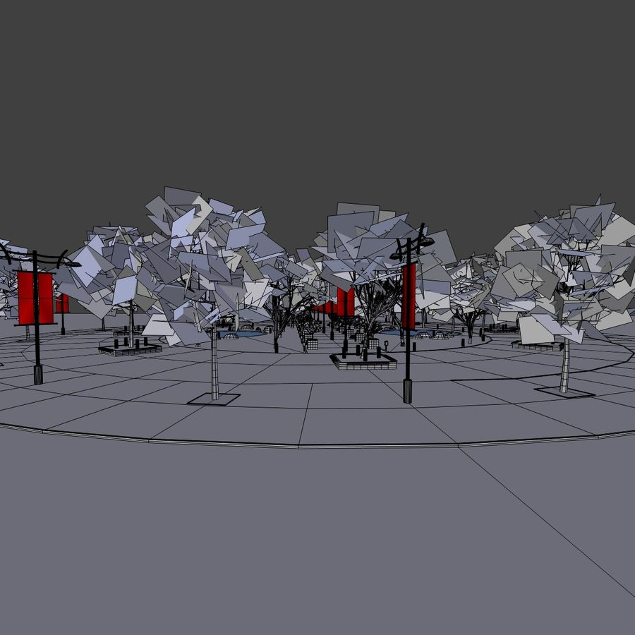 Cherry blossom park royalty-free 3d model - Preview no. 10