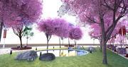 Cherry blossom park 3d model