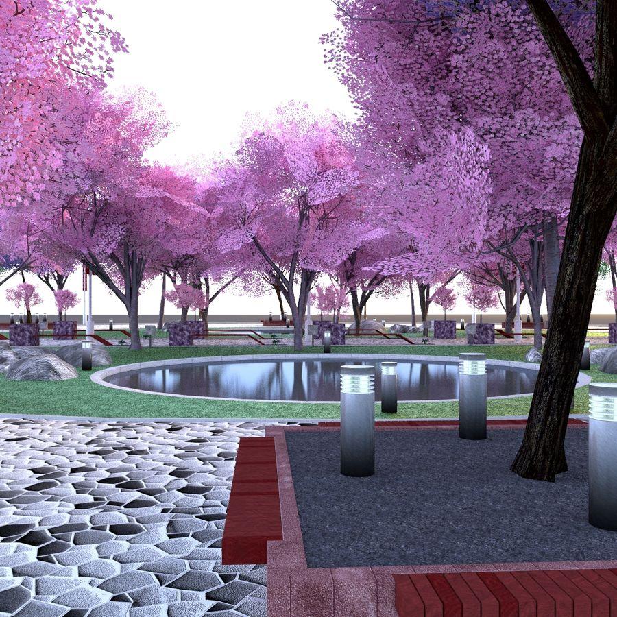 Cherry blossom park royalty-free 3d model - Preview no. 1