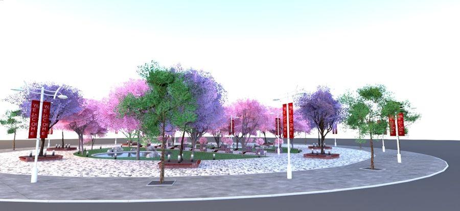 Cherry blossom park royalty-free 3d model - Preview no. 8