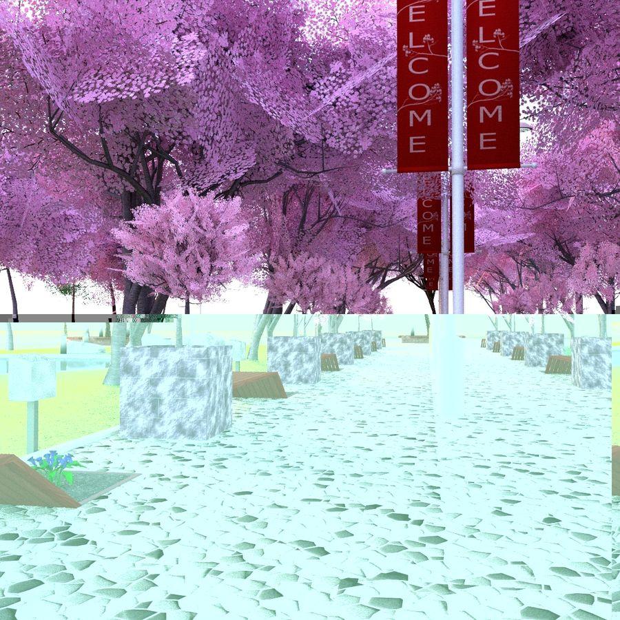 Cherry blossom park royalty-free 3d model - Preview no. 3
