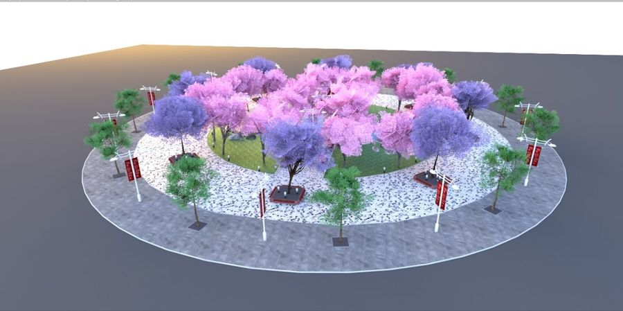 Cherry blossom park royalty-free 3d model - Preview no. 5