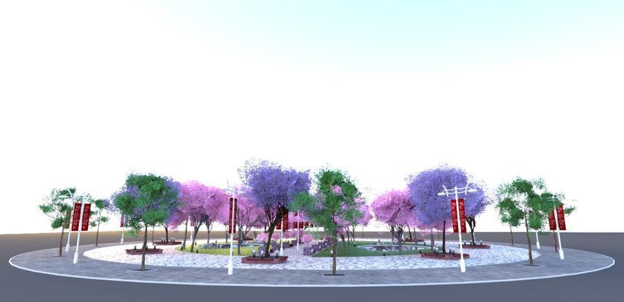 Cherry blossom park royalty-free 3d model - Preview no. 6