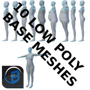 10 maglie a base poli bassa 3d model