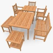 Teakholz Möbel Szene 3d model