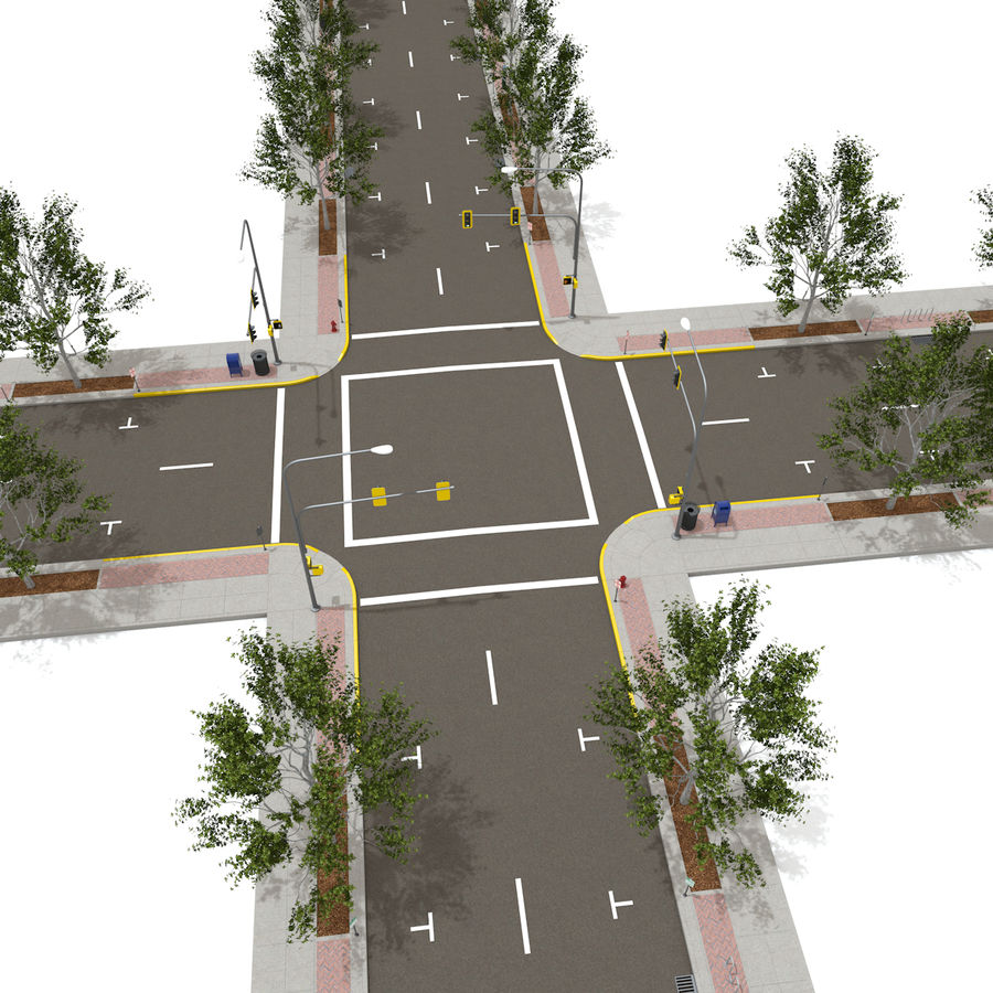 Городская улица royalty-free 3d model - Preview no. 16