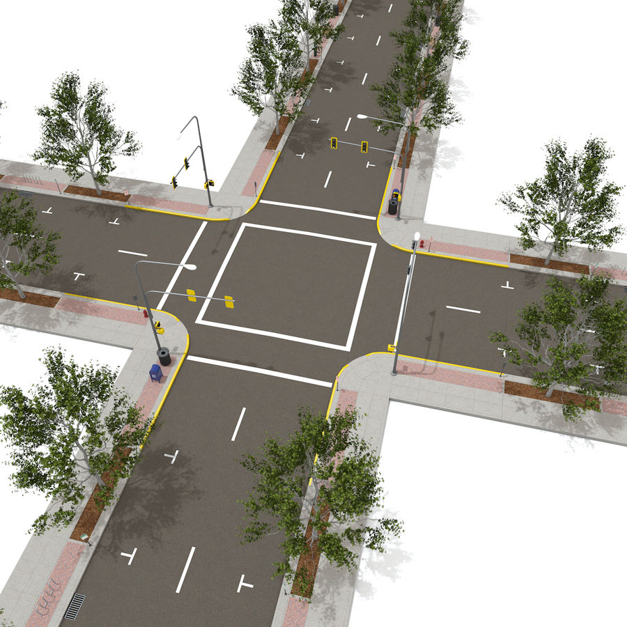 Городская улица royalty-free 3d model - Preview no. 12