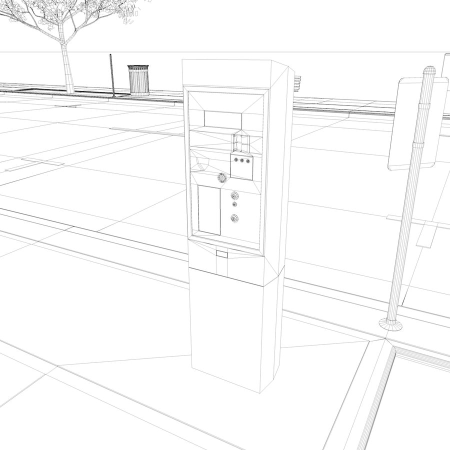 Городская улица royalty-free 3d model - Preview no. 34