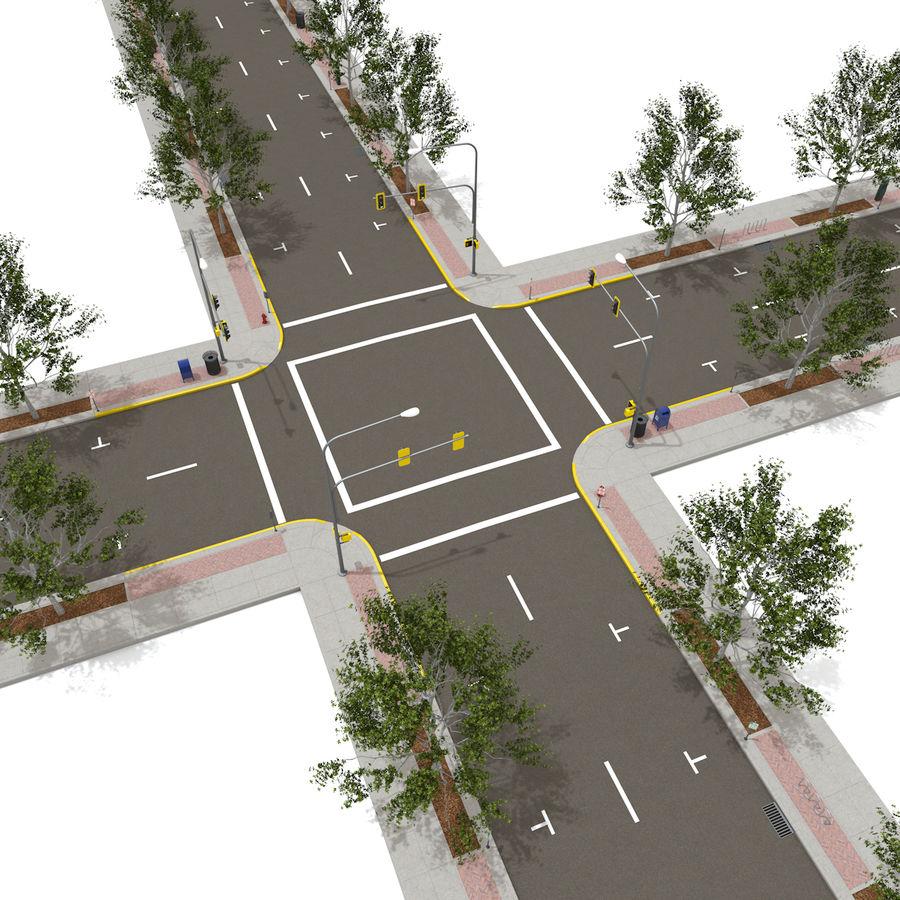Городская улица royalty-free 3d model - Preview no. 3