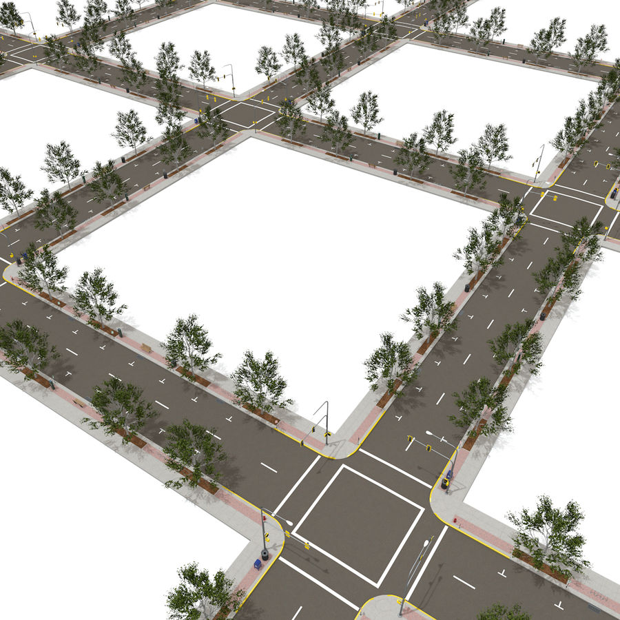 Городская улица royalty-free 3d model - Preview no. 17