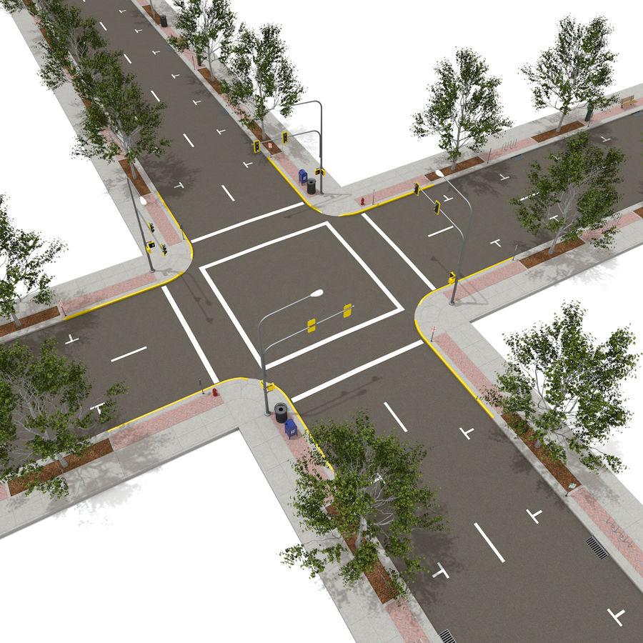 Городская улица royalty-free 3d model - Preview no. 7