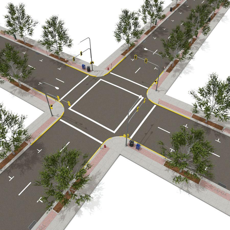 Городская улица royalty-free 3d model - Preview no. 8