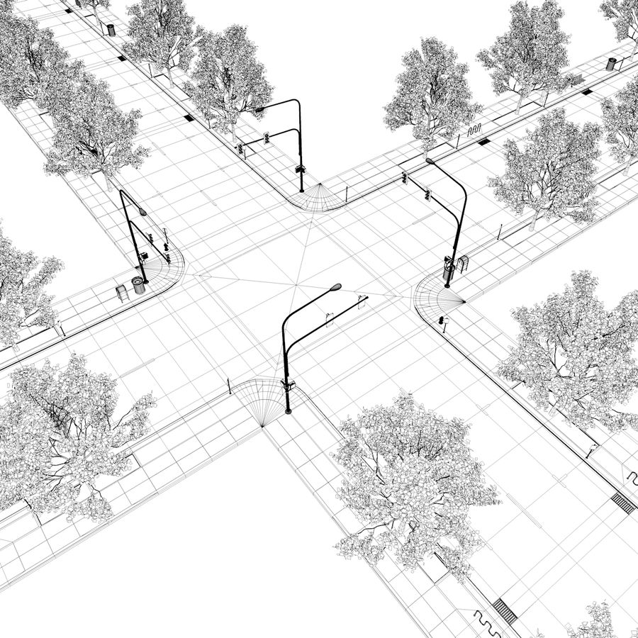 Городская улица royalty-free 3d model - Preview no. 39