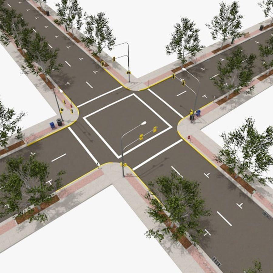 Городская улица royalty-free 3d model - Preview no. 1