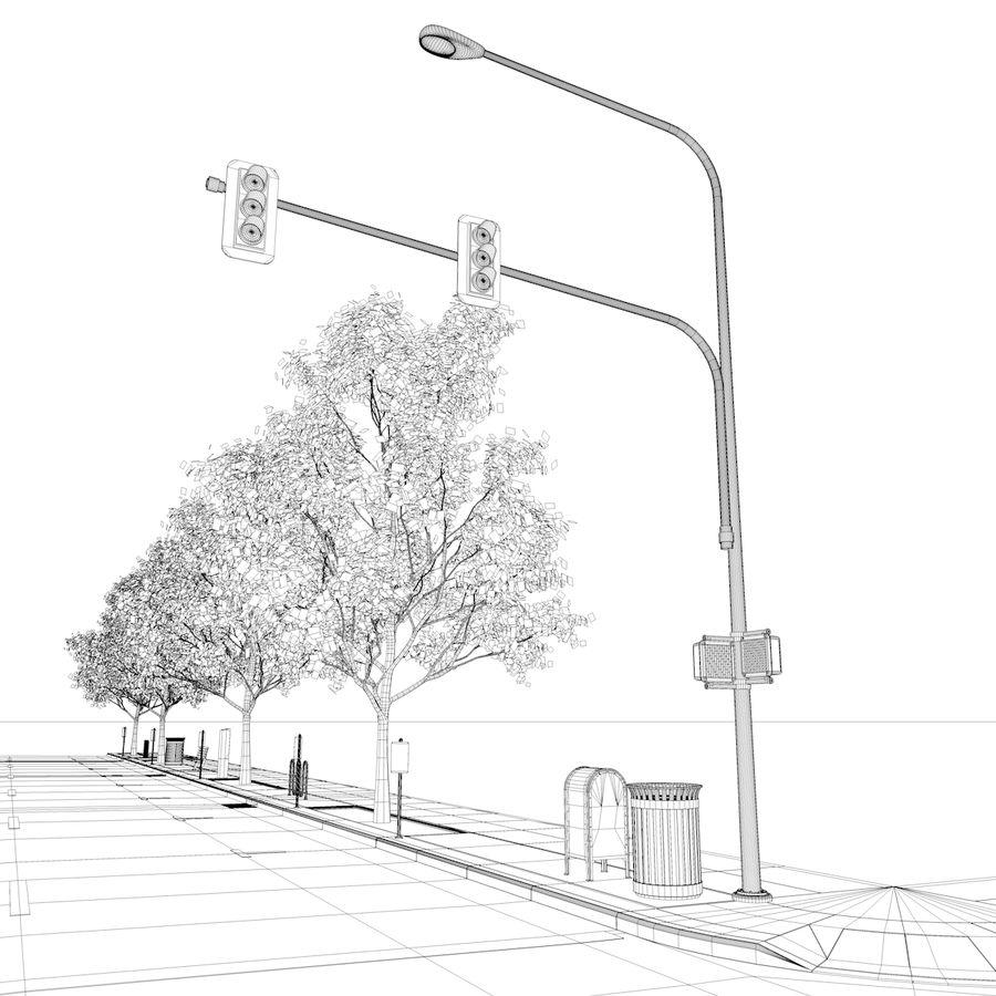 Городская улица royalty-free 3d model - Preview no. 38