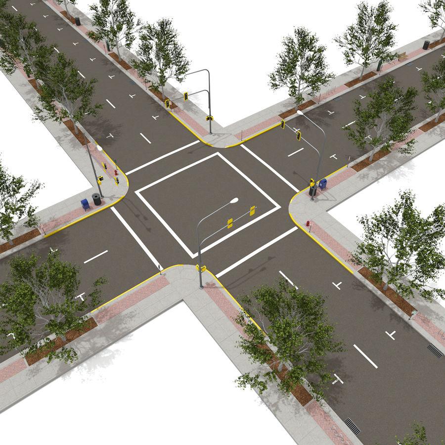 Городская улица royalty-free 3d model - Preview no. 4