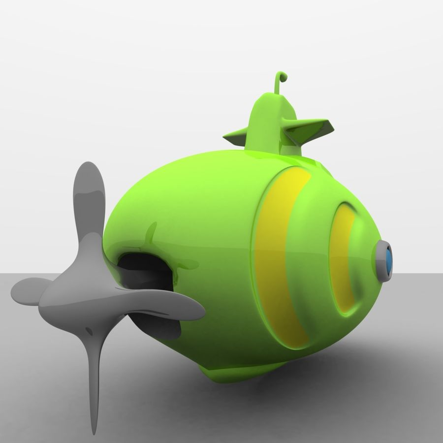 Kireç Yeşili Oyuncak Denizaltı royalty-free 3d model - Preview no. 9