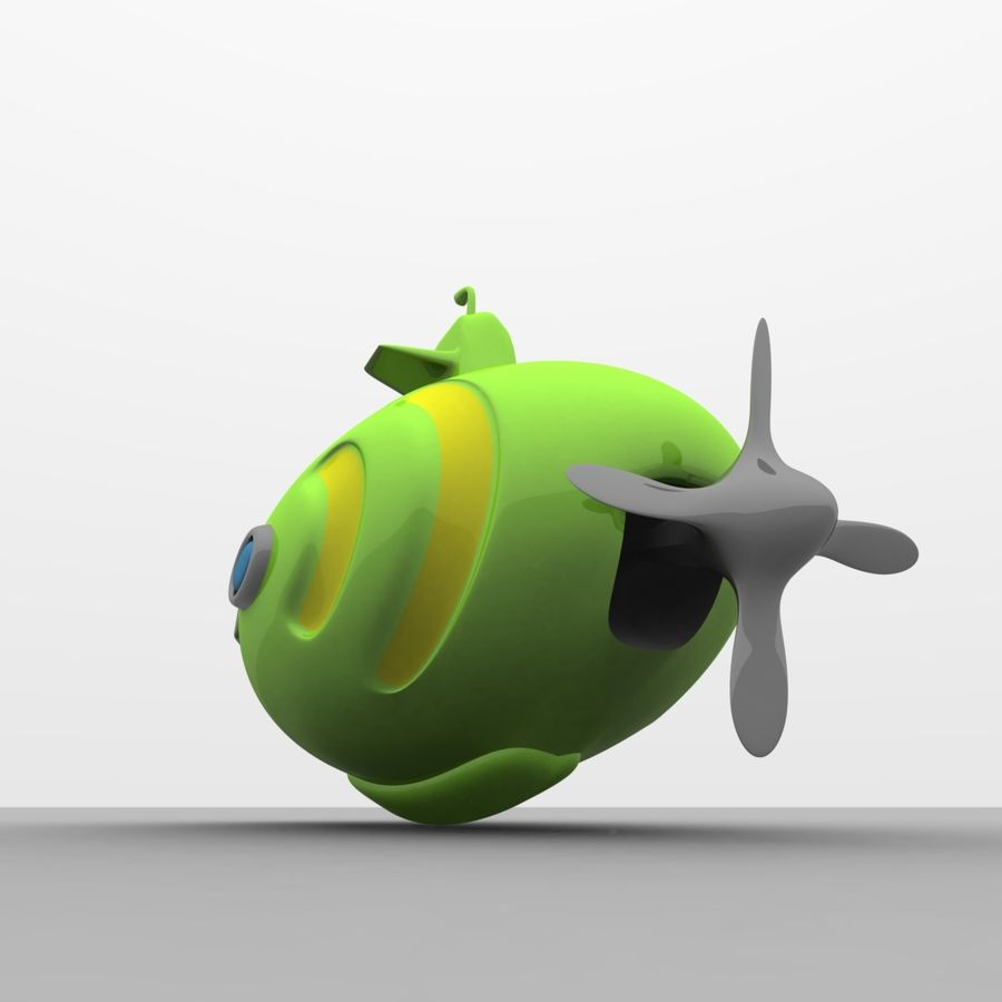 Kireç Yeşili Oyuncak Denizaltı royalty-free 3d model - Preview no. 11