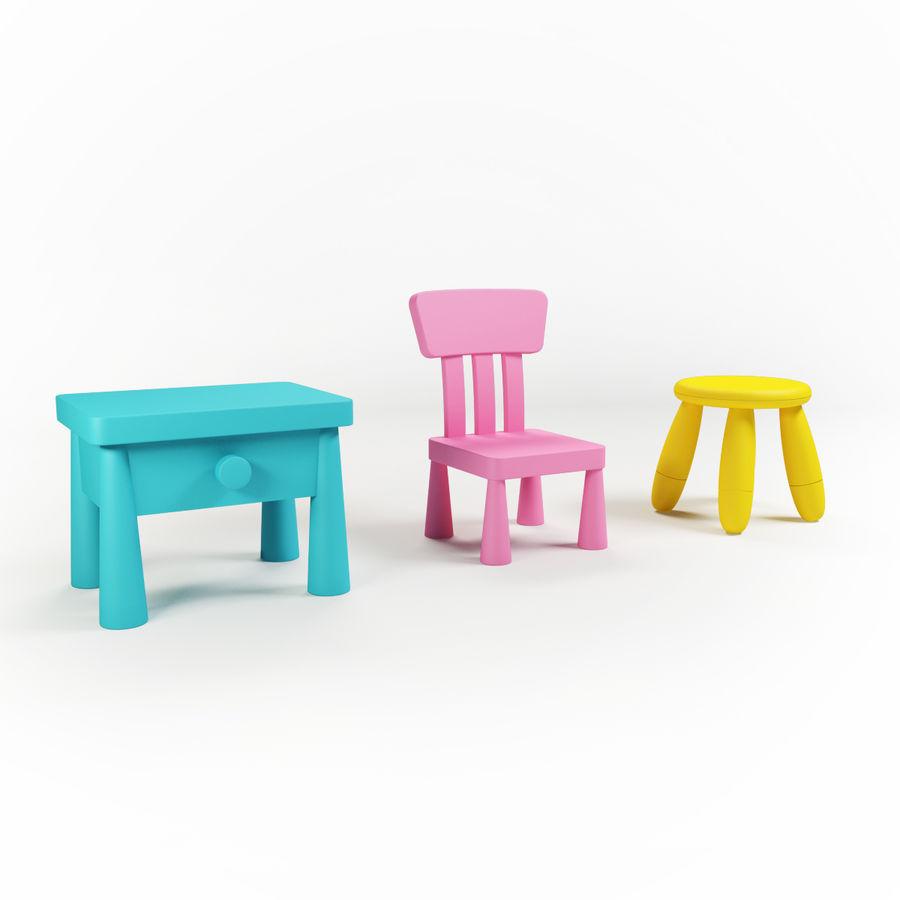 Cadeiras para crianças royalty-free 3d model - Preview no. 1