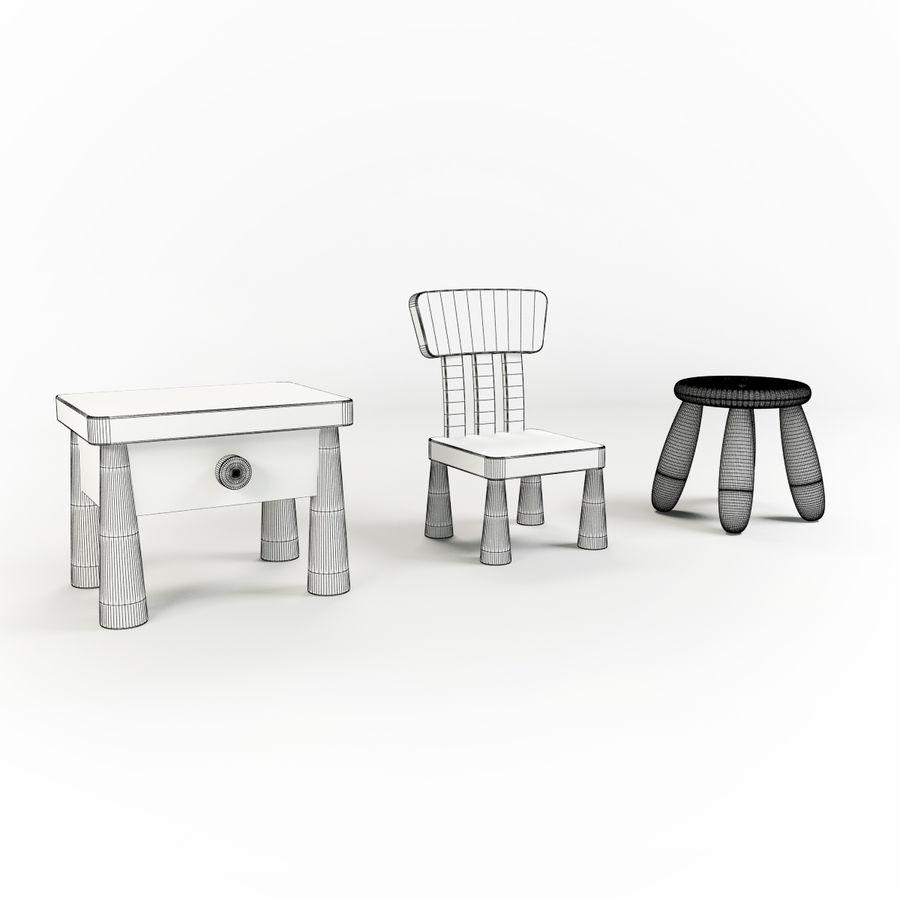 Cadeiras para crianças royalty-free 3d model - Preview no. 2