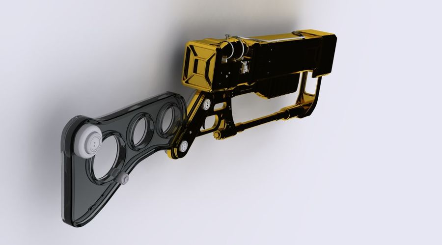 Gun : futuristic Rifle royalty-free 3d model - Preview no. 3