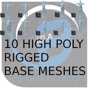 10個の高ポリリギングベースメッシュ 3d model